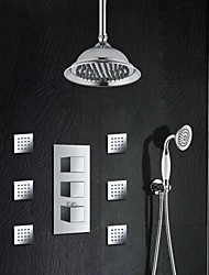 3 Square Handle Thermostatic Mixer Valve Chrome Brass 8 Inch Shower Faucet Rainfall Shower With 6 Pcs Body Jets