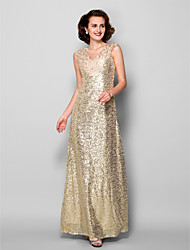 Lanting Sheath/Column Plus Sizes / Petite Mother of the Bride Dress - Champagne Floor-length Sleeveless Sequined