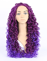 20inch Wavy Wigs Synthetic Hair Purple Wig Cheap Curly Wigs Lace Front Wig