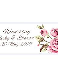 Personalized Wedding Tags Address Labels Envelope Sticker Beautiful Pink Rose Flower Floral Pattern Of Filmed Paper