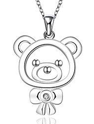 Fine Jewelry 925 Sterling Silver Jewelry Cute Mini Bear with Zircon Pendant Necklace for Women