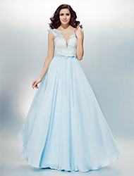 Homecoming Formal Evening Dress - Sky Blue A-line/Princess Bateau Floor-length Chiffon