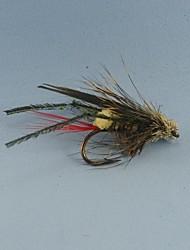 12pcs voar grama pesca hopper voa tamanho da mosca seca terrestre # 6