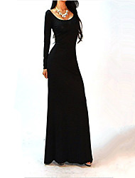 Aimee Women's Fashion Long Sleeve Backless Long Dress