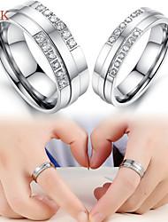 OPK®2PC AAA Zirconium Drill Symbol of Eternal Love Stainless Steel Couple Rings