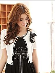 Women's White/Black Blazer , Casual Short Sleeve