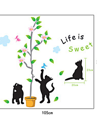 Cartoon Black Cats Tree PVC Wall Stickers