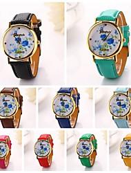 Womenr Blue-flowering Pu Leather Diamond Brand Luxury Lady Bracket Dress Wristwatch (Assorted Colors)C&D-196