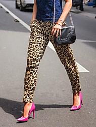 kvinners utskrifts uelastisk tynne løse bukser (polyester)