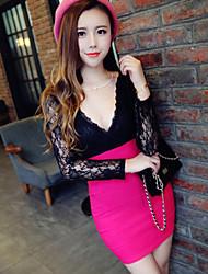 V шеи плюс размер мода тонкий Bodycon сексуальное платье Iced Продукция ТМ женщин (больше цветов)