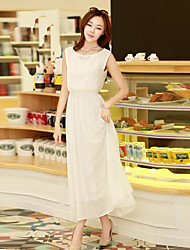 simplicidade bohemia chiffon elástico vestido maxi das mulheres