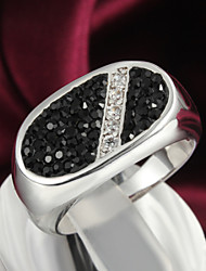 Blace Stone Shamballa Design White Gold Plated Men's Ring