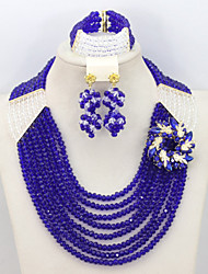 Graceful Royal Blue/Clear Crystal African Beads Jewelry Set Lady Nigerian Party Jewelry Set