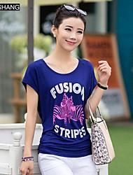 Graffiti runden Kragen lässig Blumendruck Kurzarm-T-Shirt ist bs®women