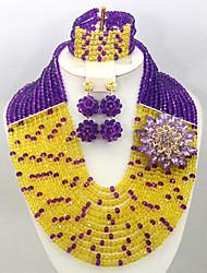 2015 New Crystal Beads Jewelry Set African Wedding Bridal Necklace Bracelet Earrings Set AC036