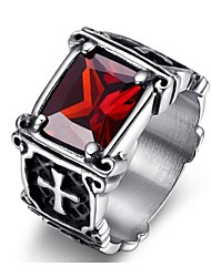 Classic titanium steel Men's As Picture  Rings(balck,red)(1 Pc) Jewelry Christmas Gifts