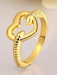 Fashion Heart Shape Environmental Protection Material Copper Rose Gold Foreign Trade Ring(2 color)(1Pc)