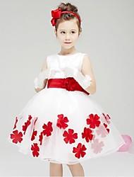 Ball Gown/Princess Knee-length Flower Girl Dress - Cotton/Organza/Taffeta Sleeveless