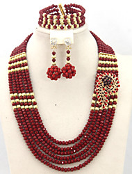 Latest Bridal African Nigerian Beads Jewelry Set African Chunky Jewelry Sets 18K Gold Plated