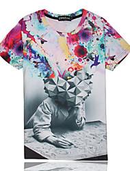 T-Shirts ( Mistura de Algodão ) MEN - Casual/Estampado Redondo - Manga Curta