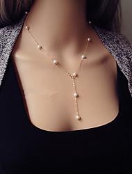 collier pendentif exquise européenne en alliage de style perle y (d'or) (1 pc)