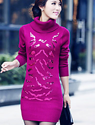 Women's Fashion Turtle Neck Sequins Slim Knitting Dress
