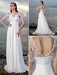 lanting vaina / columna vestido de novia - marfil barrido / cepillo de la gasa de terciopelo con cuello en V tren