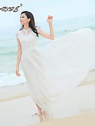 Women's Dress , Vicose/Polyester Maxi Short Sleeve