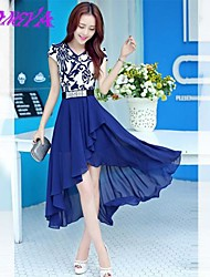 Women's Slim Blue and White Porcelain Printing Short-Sleeved Dress Swallowtail Special Occasion Dresses