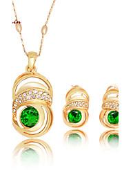 WesternRain Dubai Rose Gold Plated Green Rhinestone Pendant Necklace Fashion Women Costume Jewelry Set