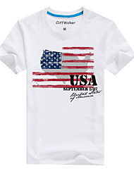 Men's Summer Casual/Work/Sport/Plus Sizes Round Neck USA Flag Print White Short Sleeve Regular T-Shirts