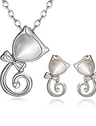 Arinna Fashion Jewelry Set Women 18k white Gold Plated white  lynx-stones Necklace & Earrings Gift Set G1372#3