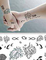 Aegean Sea Love Fish Tattoo Stickers Temporary Tattoos(1 pc)