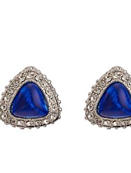Women's Fashion High Quality Triangle Blue Gem Diamond Earring