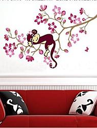 Environmental Removable Cartoon Monkey Shaped Wall Sticker