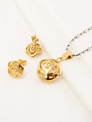 Fashion Rose Hollow Stainless Steel(Necklace&Earrings) Jewelry Set