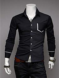 moda moda causal camisa de manga longa de homens brancos