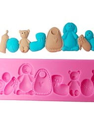 FOUR-C Silicone Cupcake Molds Bears Fondant Moulds Color Pink