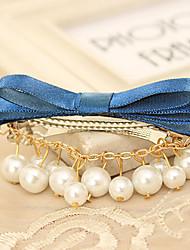 Fashion Pearl Ribbon Bow Barrettes