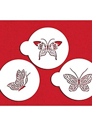 FOUR-C Plastic Stencil Set Top Decorating for Cup Cake Color White,3PCS/Set ST-569