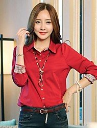 bs®women Casual / work / Übergrößen Langarm regelmäßigen Shirt (Baumwolle)
