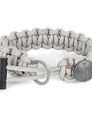 EDCGEAR Parachute Cord Rope Bracelet with Ferrocerium Rod + Hidden Knife - Light Grey