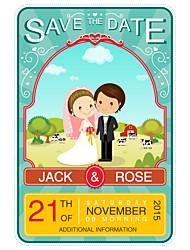 Personalized Wedding Invitations Cartoon Bride & Groom Pattern Save The Date Paper Card 15cm x 12.5cm 50pcs/Set