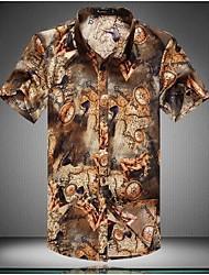 Men's  lapel Digital printing fashion casual short sleeved shirt
