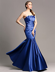 Floor-length Satin Bridesmaid Dress - Royal Blue Plus Sizes / Petite Fit & Flare Strapless