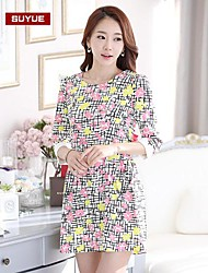 impresión coreano vestido largo hasta la rodilla delgada de las mujeres suyue®