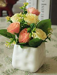 champagne rosess fleurs artificielles avec vase