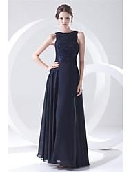 Formal Evening Dress - Dark Navy Plus Sizes / Petite A-line Jewel Floor-length Chiffon