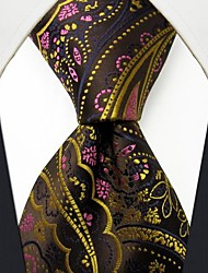 Q24 Shlax & Wing Silk Neckties Ties Brown Chocolate Paisley Men's Acceossories
