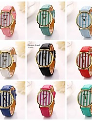 Womenr Cylindrical Stripe Pu Leather Diamond Brand Luxury Lady Bracket Dress Wristwatch (Assorted Colors)C&D-197
